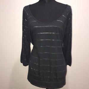 EUC Dark Gray and Silver Striped Top